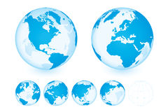 Globe Set Transparent Blue. 6 different positions & wireframe Stock Photo
