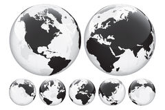 Globe Set. Transparent Globe Set in 7 different positions Stock Photo