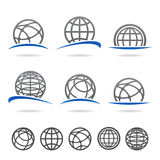 Globe set. Vector. Icons, collection, isolated stock illustration