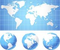 Globe Set with World Mao.  Stock Image
