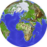 Globe, shaded relief. Globe, centered on Europe. Shaded relief colored according to terrain height. Shows polar and pack ice, large urban areas. Isolated on Royalty Free Stock Photos
