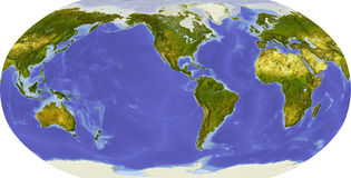 Globe, shaded relief, centered on America Royalty Free Stock Photo