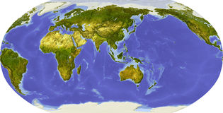 Globe, shaded relief, centered on Asia. Globe in Robinson projection, centered on Asia. Shaded relief colored according to dominant vegetation. Shows polar and Stock Image