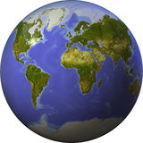 Globe, shaded relief, on one side of a sphere. Stock Image