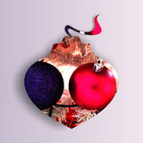 Globe shape filled with two Christmas baubles. Abstract globe shape with shadow and filled with two sparkling Christmas globes, on light purple background Royalty Free Stock Photography