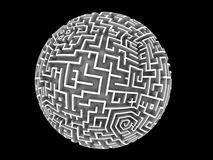 Globe shaped Maze. A maze wrapped around a sphere. Design component Royalty Free Stock Image