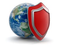 Globe and Shield (clipping path included) Stock Photo