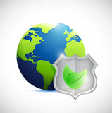 Globe and shield leaves illustration design Stock Images