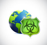 Globe and shield protection illustration design Stock Images