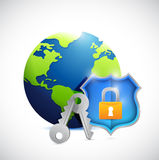 Globe and shield security illustration design Royalty Free Stock Photos