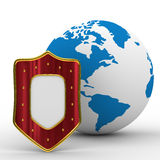 Globe and shield on white background Royalty Free Stock Images