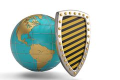 Globe and shield on white background.3D illustration. Globe and shield on white background. 3D illustration vector illustration