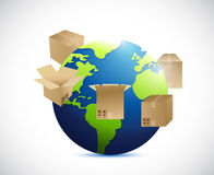 Globe and shipping boxes around. illustration Stock Images