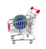 Globe and shopping cart with clipping path Stock Image