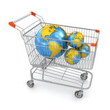 Globe in Shopping Cart. This is a computer generated and 3d rendered image Royalty Free Stock Images