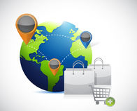 Globe and shopping concept illustration Royalty Free Stock Images