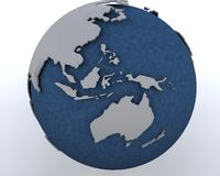 Globe showing asia pacific region. 3D render of a globe showing asia pacific region Stock Photo