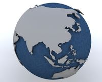 Globe showing east asia region. 3D render of a Globe showing east asia region Royalty Free Stock Images