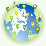 Globe showing a set of pinpoint icons of bio eco environmental s Royalty Free Stock Images