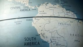 Globe showing South America. Located in Ecuador royalty free stock photography