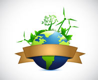 Globe sign and eco concept illustration design Royalty Free Stock Photo