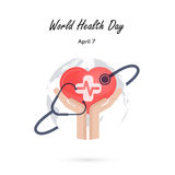 Globe sign,human hand and stethoscope icon with heart shape  Stock Photo