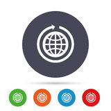 Globe sign icon. Round the world arrow symbol. Stock Photography