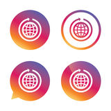 Globe sign icon. Round the world arrow symbol. Full rotation. Gradient buttons with flat icon. Speech bubble sign. Vector Royalty Free Stock Images