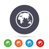 Globe sign icon. World map geography symbol. Royalty Free Stock Image