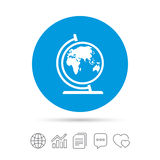 Globe sign icon. World map geography symbol. Globe on stand for studying. Copy files, chat speech bubble and chart web icons. Vector Royalty Free Stock Images