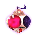 Globe silhouette filled with Christmas decors. Abstract globe silhouette with purple shadow and filled with two Christmas globes, on white background Stock Photo