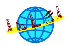 Globe and silhouettes of oil industry. Stock Image