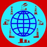 Globe and silhouettes of oil industry. Royalty Free Stock Images