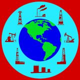 Globe and silhouettes of oil industry. Stock Photos