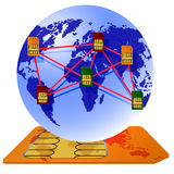 Globe Sim card connecting continents. Royalty Free Stock Image