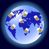 Globe Sim card connecting continents. Royalty Free Stock Images