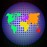 Vector multicolor world map with continents on the globe on a deep dark background. royalty free illustration