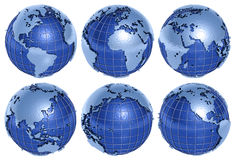 Globe Six Sides. The globe of the Planet Earth in six sides on a white background Royalty Free Stock Photo