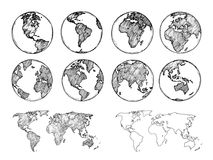 Globe sketch. Hand drawn earth planet with continents and oceans. Doodle world map vector illustration
