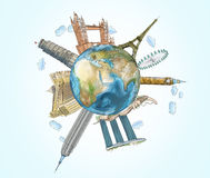 A globe with sketched famous places. The concept of travelling and sightseeing. Stock Photography
