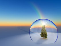 Globe Snow Christmas tree Stock Image
