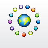 Globe with social glossy button Stock Images