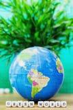 Globe - South America with GREEM WORLD Message Stock Photos