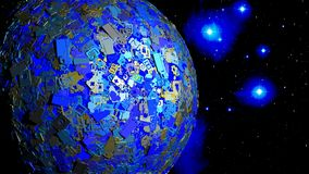 Globe in space covert with shiny IOT icons and symbols. Internet of things concept 3D illustration Stock Photo
