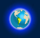 Globe in space, views of Brazil Royalty Free Stock Photos