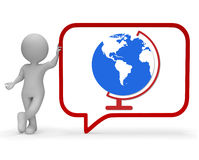 Globe Speech Bubble Shows World Global And Globalise 3d Rendering Stock Photos