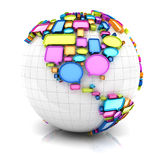 Globe with speech bubbles. 3d render, white background Stock Photos