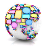 Globe with speech bubbles Royalty Free Stock Photos
