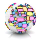 Globe with speech bubbles Royalty Free Stock Images
