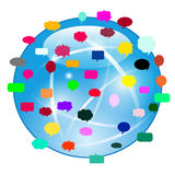 Globe with speech bubbles and various media icons Stock Image